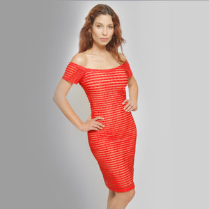 Red off The Shoulder Dress - Claudio Milano couture