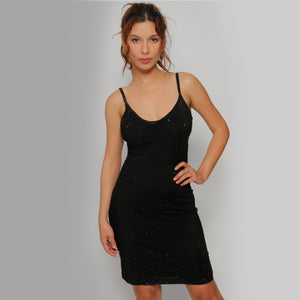 Net mid- length spaghetti strap dress - Claudio Milano Couture