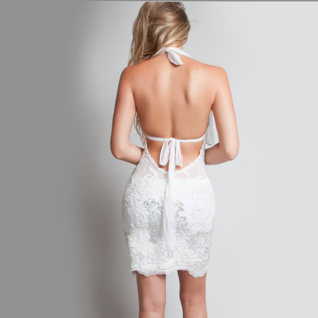 Sheer Backless Halter Lace Dress - Claudio Milano Couture
