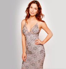 Load image into Gallery viewer, Lace knee length pearls and crystals evening dress