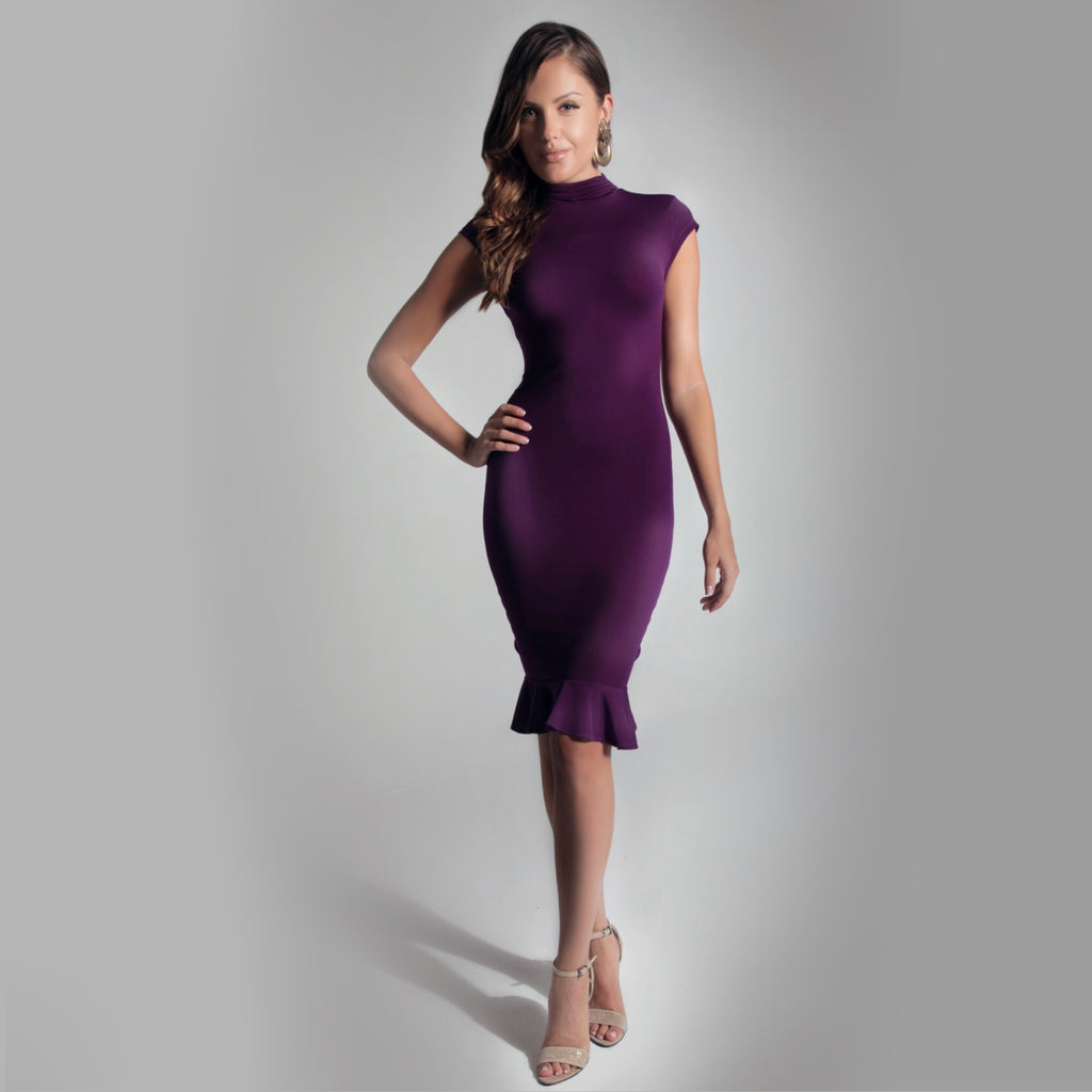 Turtle Neck solid dress - Claudio Milano Couture