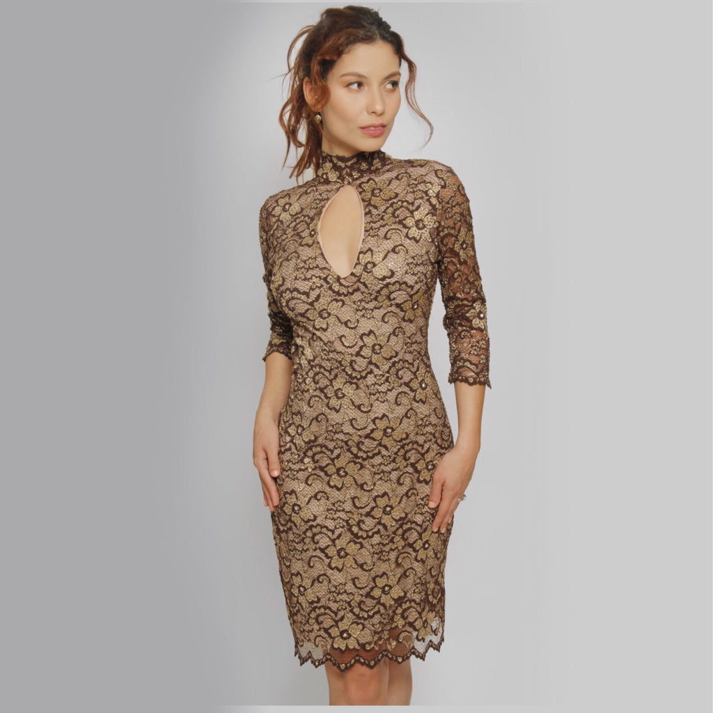 Turtle Neck Lace Dress - Claudio Milano Couture