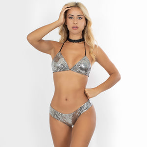 Swimwear Sequin Top Silver - Claudio Milano couture