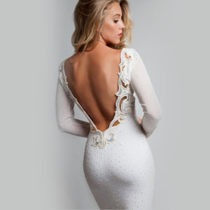 Backless long-sleeve sheer - Claudio Milano couture