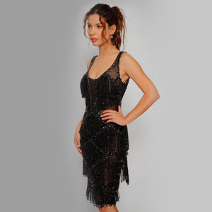 Black tie full crystals dress - Claudio Milano couture