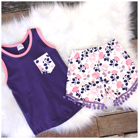 Sleeveless Purple Pocket Short Set