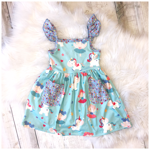 Flutter Sleeve Unicorn Fairy Dress