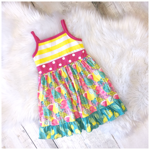 Tropical Fruit Spaghetti Strap Summer Dress