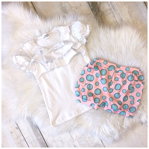 Ruffle Top and Polka Dot Short Set