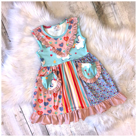 Unicorn Fairy Boho Ruffle Pocket Dress