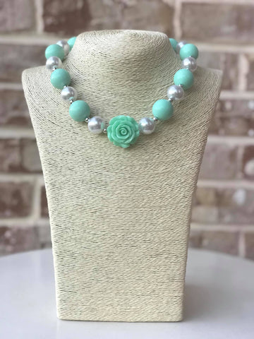 Mint Rose Bauble Chunky Necklace