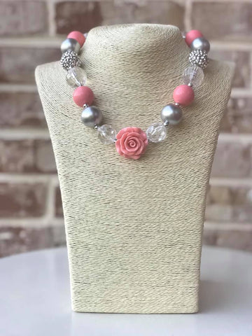 Sparkle Pink Rose Bauble Chunky Necklace