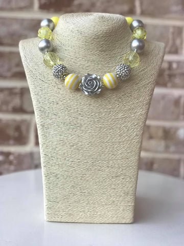 Lemon Yellow Rose Bauble Chunky Necklace