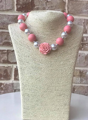 Pink Rose Bauble Chunky Necklace