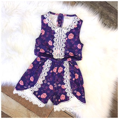 Purple Lace Rose Romper