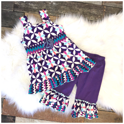 Purple Sleeveless Geometric Capri Set