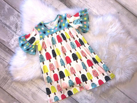 Ice Cream Ruffle Sleeve Dress