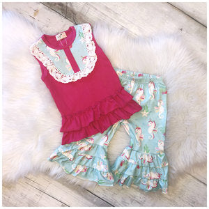 Seacorn Lace Tank Capri Set