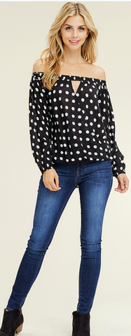 Black and White Off Shoulder Polka Dot Top