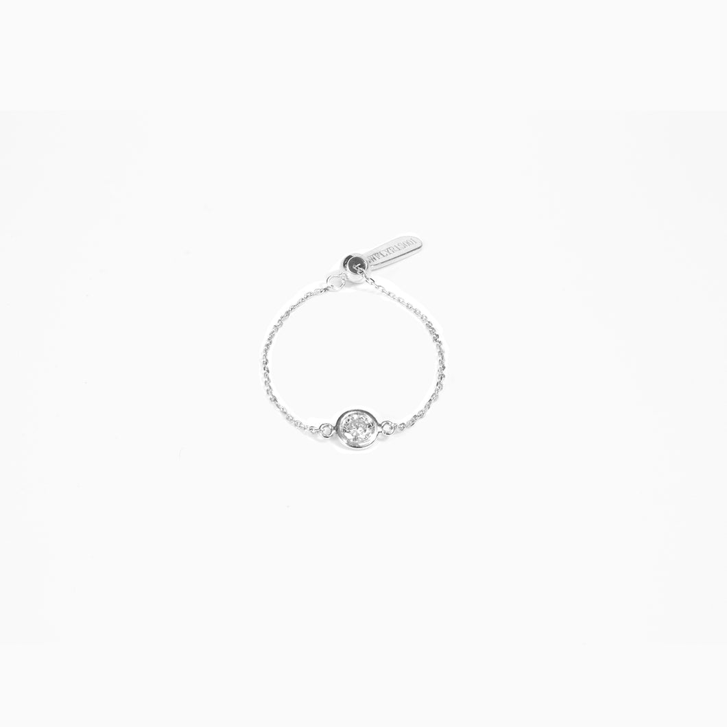 Diamond Chain Ring - White Gold