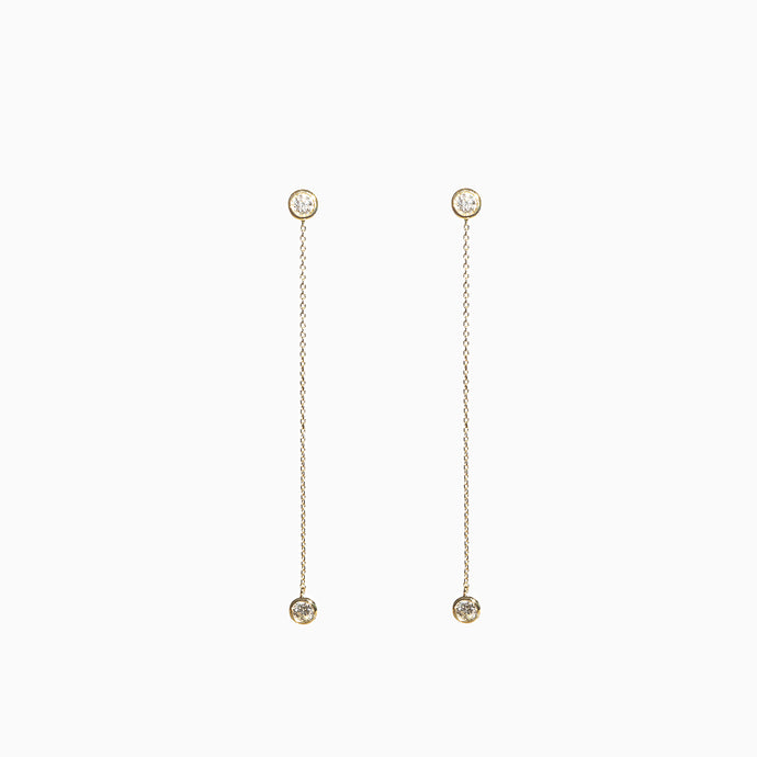 Duet Diamond Chain Earrings - Yellow Gold