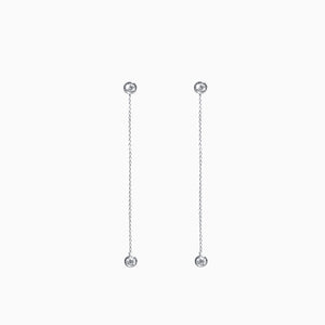 Duet Diamond Chain Earrings - White Gold