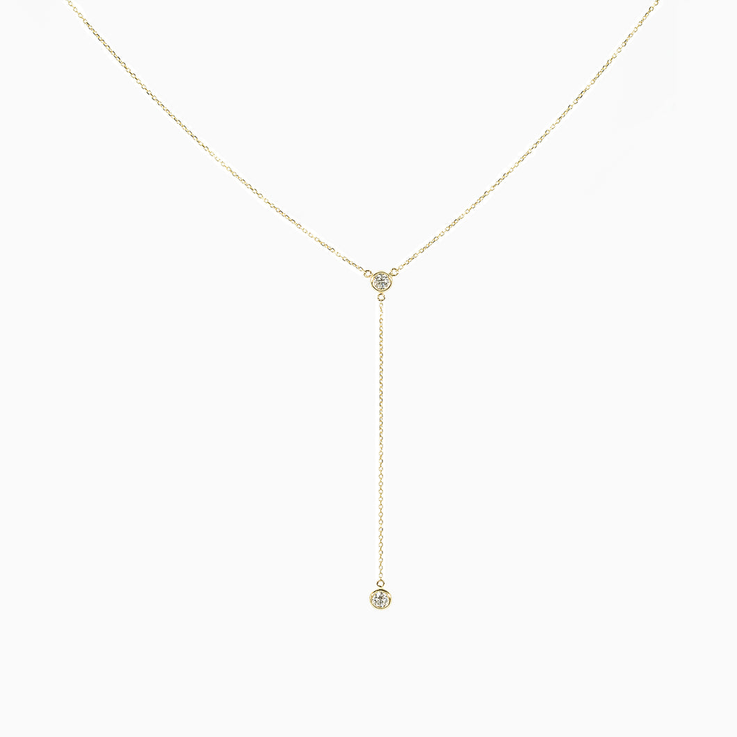 Lariat Diamond Necklace - Yellow Gold