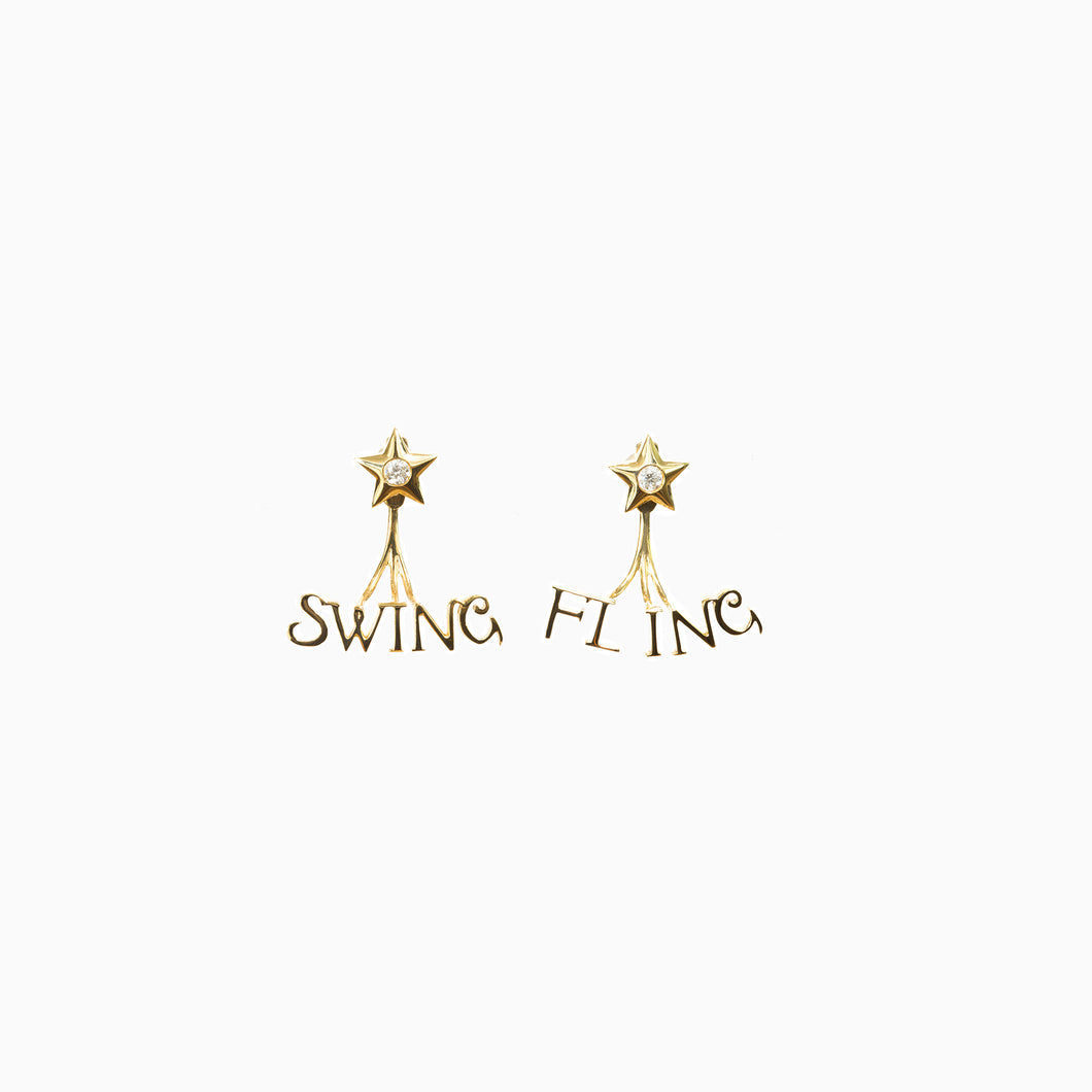 Swing and Fling Signature Earrings - Yellow Gold