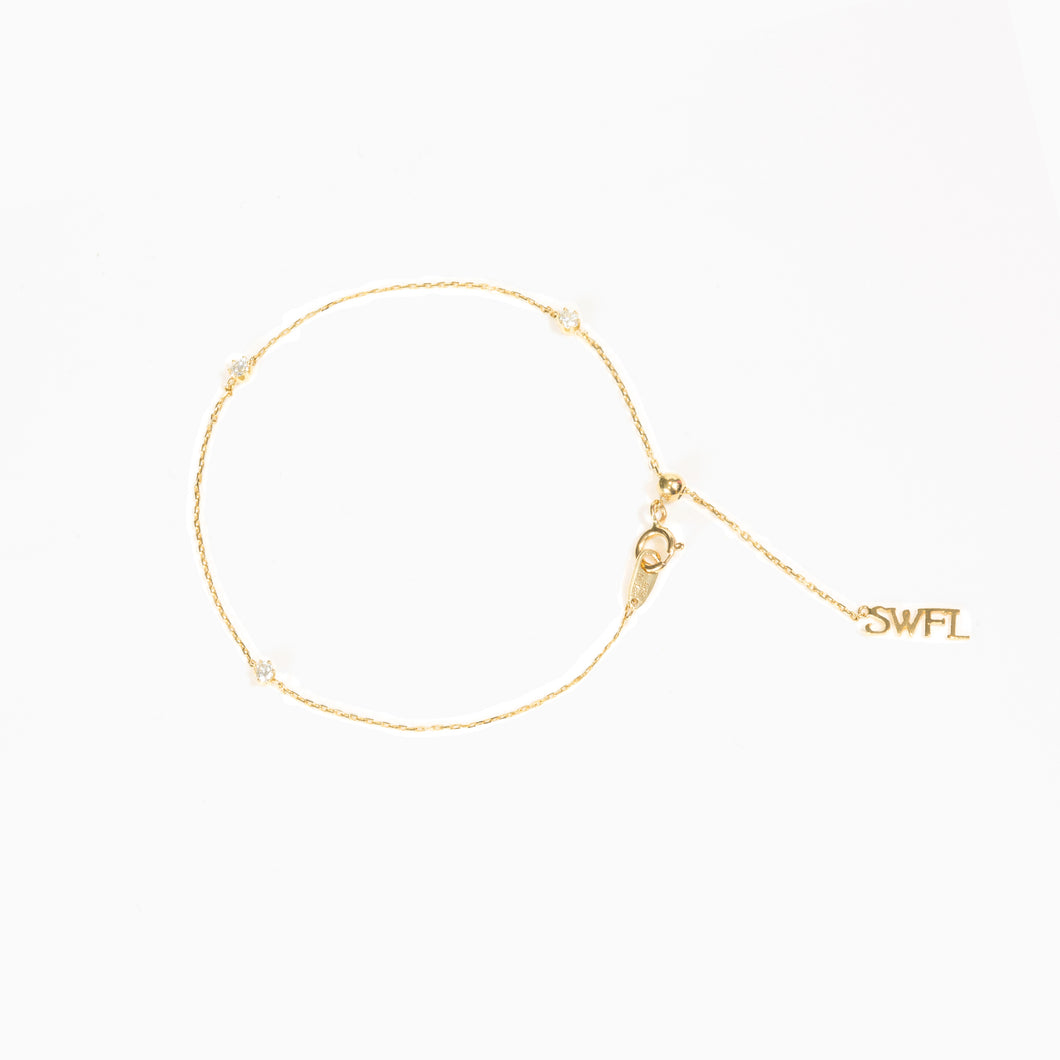 Trio Diamond Bracelet - Yellow Gold