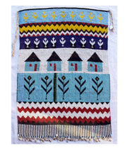 Rare Kirdi Beaded Tapestry -Blue Houses
