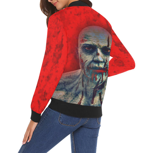 Zombie Face Women's All Over Print Casual Jacket