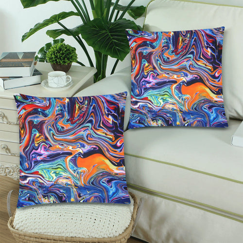 Psychedelic River Throw Pillow Cover 18