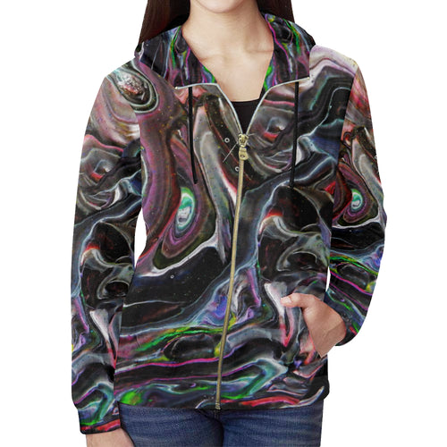 Universe Interrupted Women's All Over Print Full Zip Hoodie