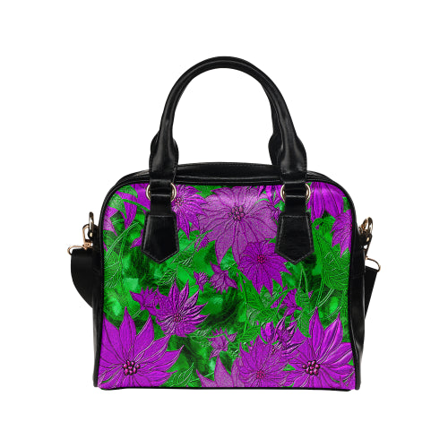 Purple Flowers Shoulder Handbag