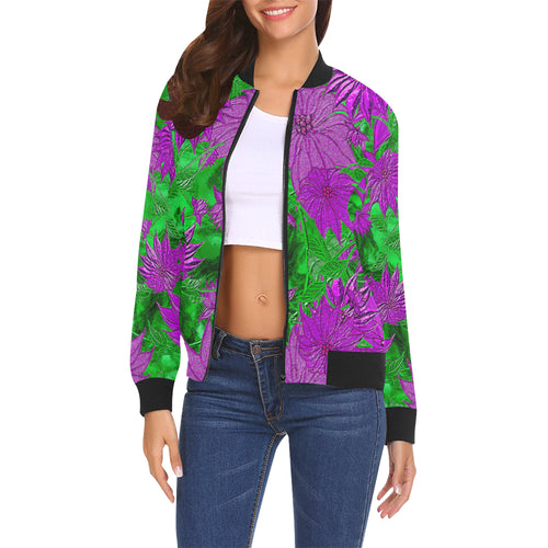 Purple Flowers Women's All Over Print Casual Jacket