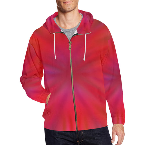 Tropical Flower Men's All Over Print Full Zip Hoodie (Large Size)
