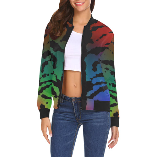 Inkstained Rainbow Women's All Over Print Casual Jacket