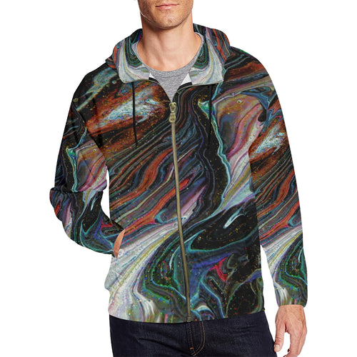 Wonkyverse Men's All Over Print Full Zip Hoodie (Large Size)