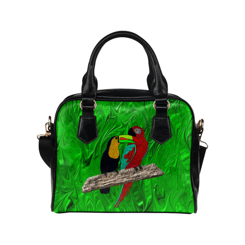 Tucan and Parrot Shoulder Handbag