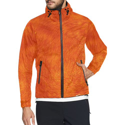 orange gold All Over Print Windbreaker for Men