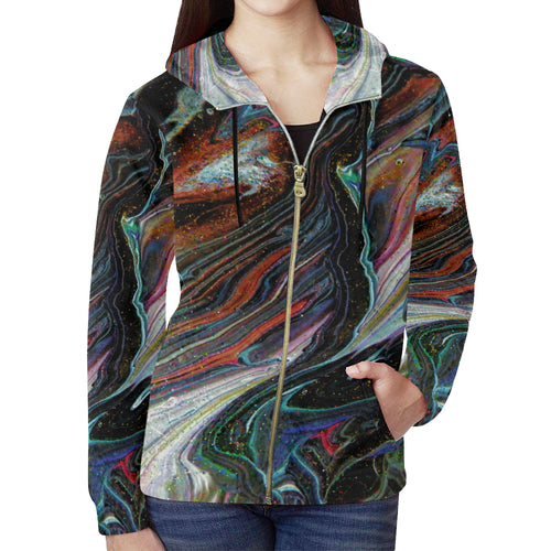 Wonkyverse Women's All Over Print Full Zip Hoodie