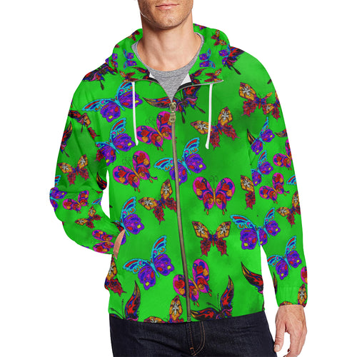 Butterfly Topia Men's All Over Print Full Zip Hoodie (Large Size)
