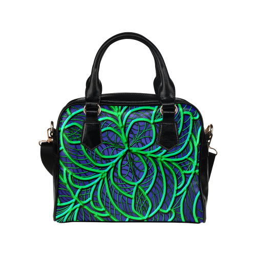 Green Line Floral Shoulder Handbag