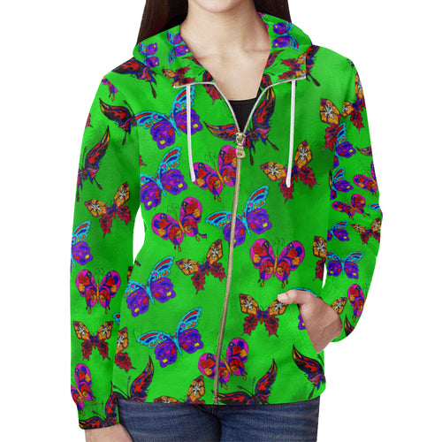 Butterfly Topia Women's All Over Print Full Zip Hoodie