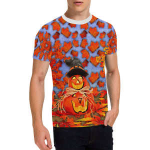 Pumpkin Man Men's All Over Print Patch Pocket T-Shirt