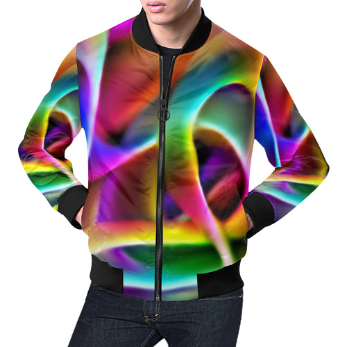 Rainbow Waves Men's All Over Print Casual Jacket