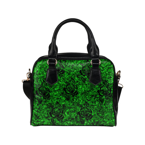Green Rose Pattern Shoulder Handbag