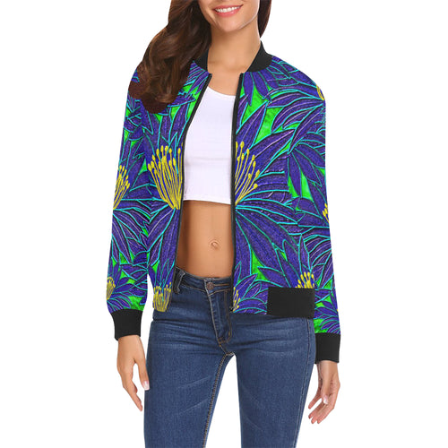 Blue Flowers Women's All Over Print Casual Jacket