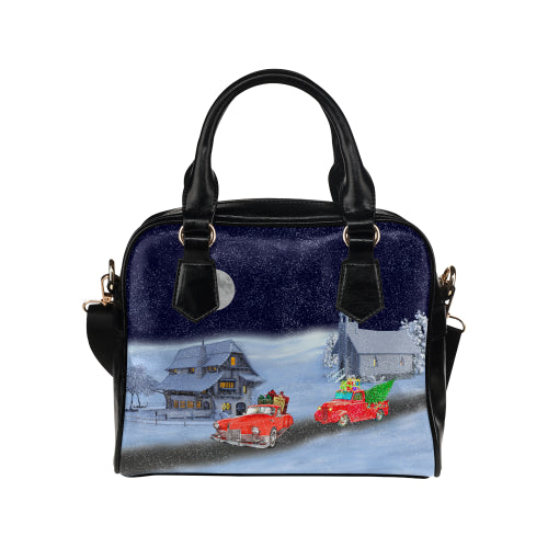 Santa's Red Rocket Shoulder Handbag