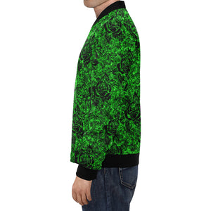 Green Rose Pattern Men's All Over Print Casual Jacket